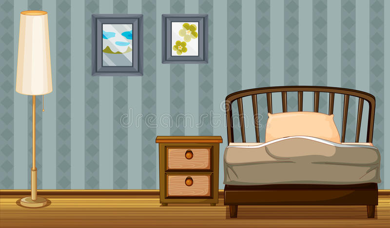 Download A bed and a lamp stock vector. Image of picture, furniture - 31676285