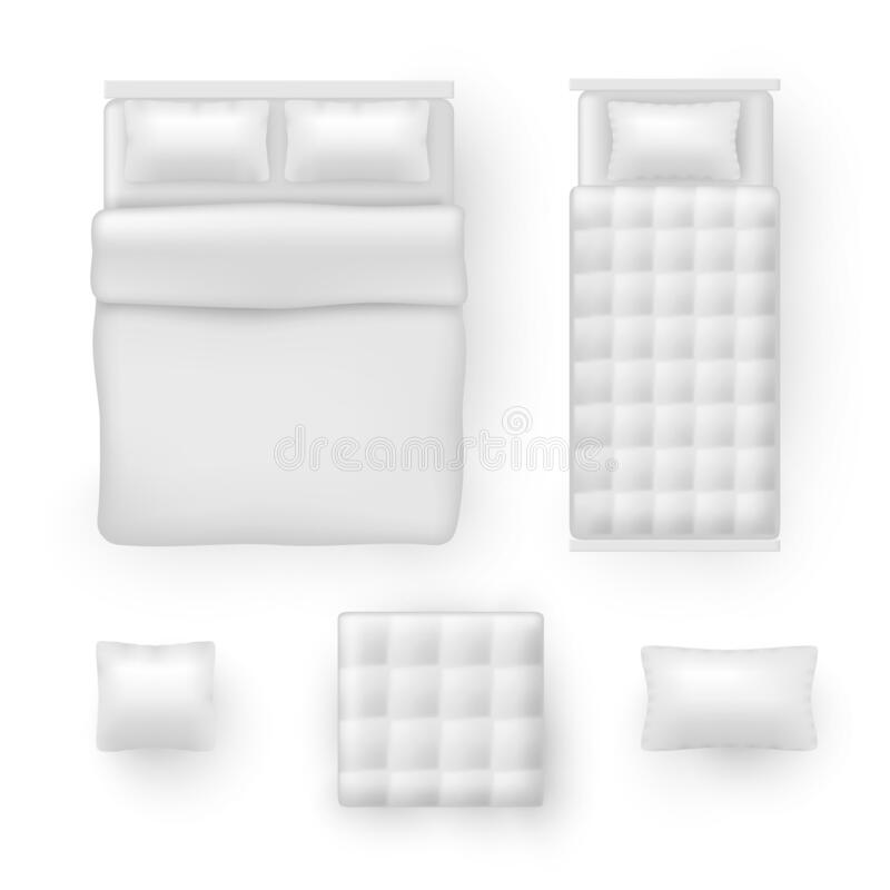 Free Bed Linen, Bedding Sheets, Bedclothes Realistic Mockups Set. Pillow, Blanket, Cushion, Comforter. Stock Photo - 196011860