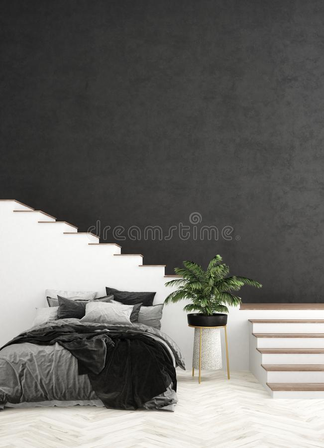 Bed in living room, wall mock up. 3d render stock photos