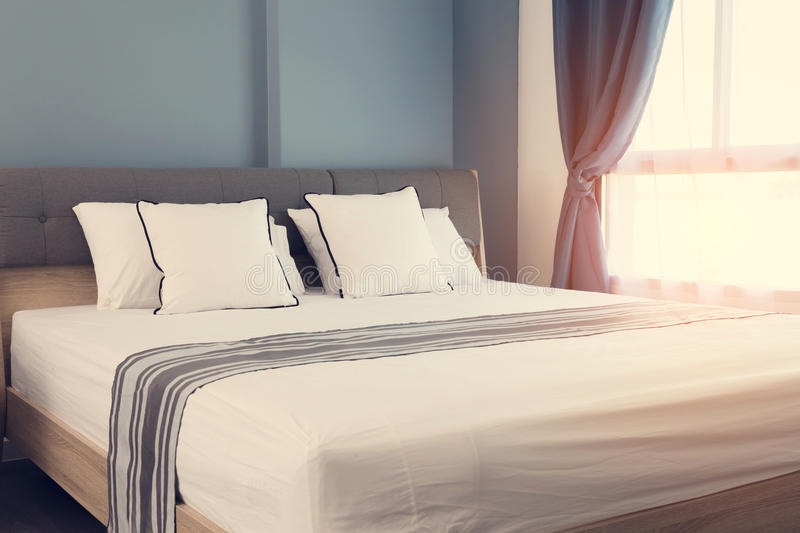 Bed maid up with clean white pillows stock photo image 83689892 - Wash white sheets keep fresh ...