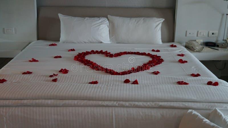 Bed met Rode Rozen in de vorm van een hart wordt verfraaid dat royalty-vrije stock foto's