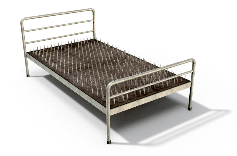 Bed Of Nails. A metaphor showing a literal bed of nails with a metal frame on an white studio background - 3D Render stock illustration