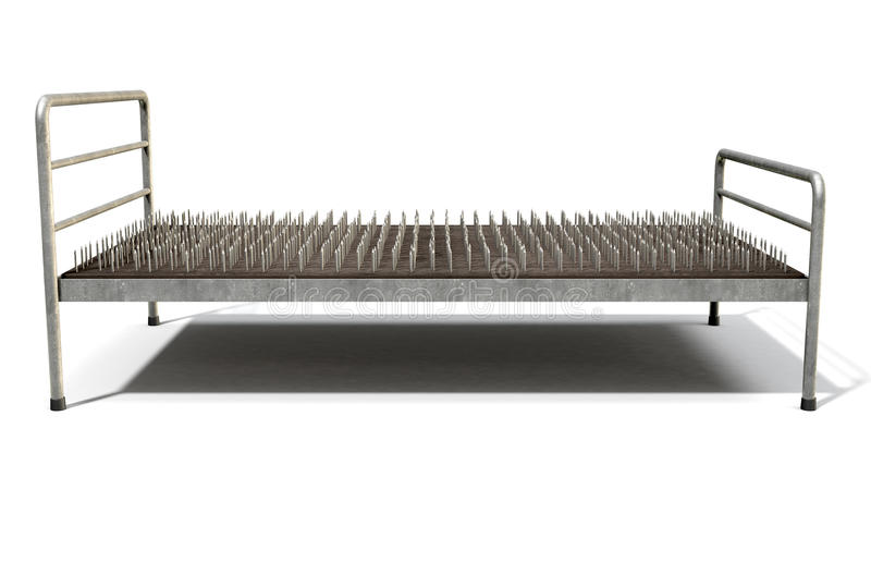 Bed Of Nails. A metaphor showing a literal bed of nails with a metal frame on an white studio background - 3D Render vector illustration