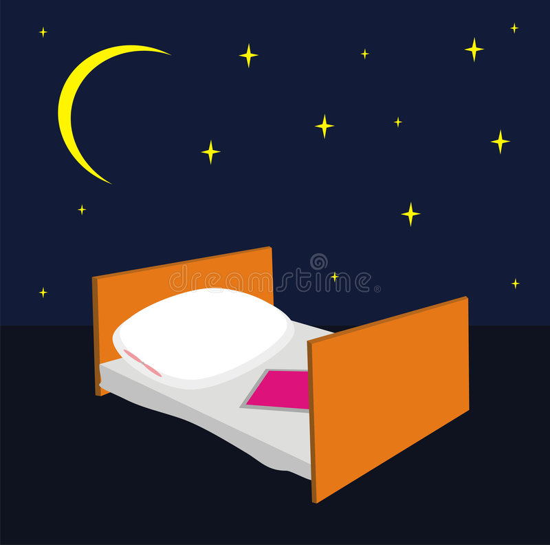 Bed with a pillow and a blanket royalty free illustration