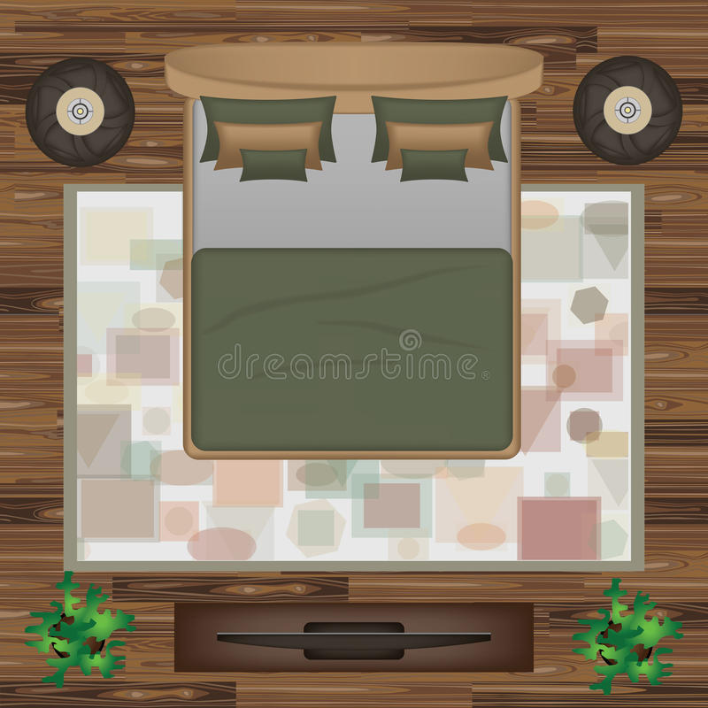 Bedroom Interior Design Set Furniture Vector ~ Bed pillows carpet pouf plants vector illustration