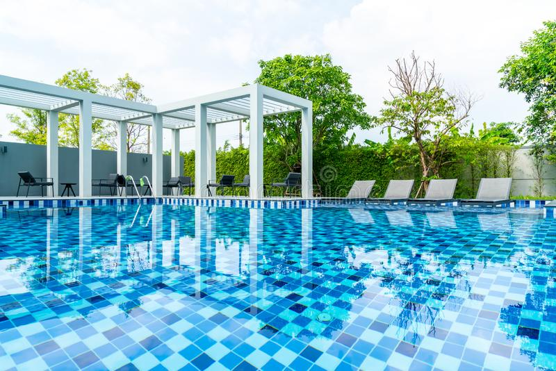 Bed pool with outdoor swimming pool in hotel and resort. For travel and vacation stock images