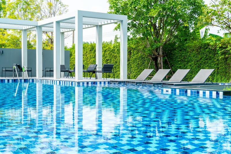 Bed pool with outdoor swimming pool in hotel and resort. For travel and vacation stock photos
