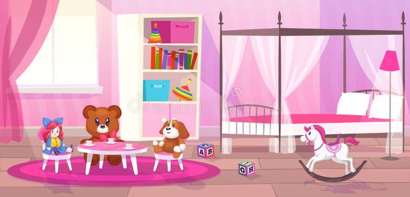 Bed room girl. Child bedroom interior girls apartment toys girly storage decor furniture kid playroom flat cartoon. Vector illustration stock illustration