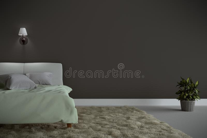 Bed Room Interior with green bed and carpet with a lamp and tree, white floor and black wall background. 3D rendering royalty free illustration