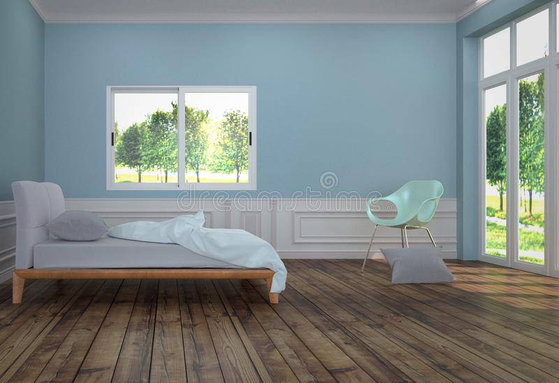 Bed Room Interior with white bed with light green chair and pillow, wooden floor and light blue mint wall background. 3D rendering royalty free illustration