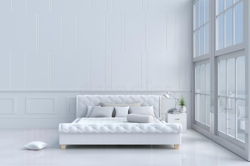 Bed room in relax day. stock photos