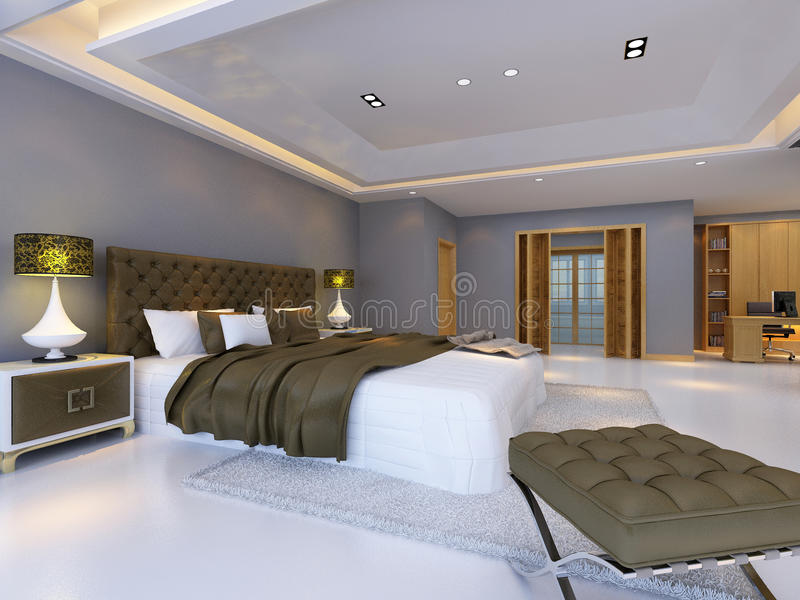 Bed room. Rendering bed room,so comfortable royalty free illustration