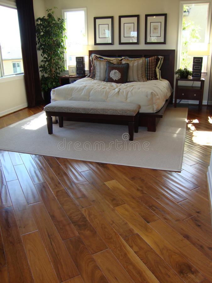 Bed Room With Wood Floors Stock Images