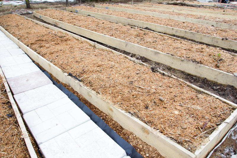 Bed with sawdust mulch and manure royalty free stock photos
