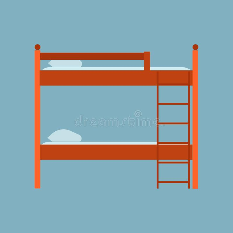 Bed side view vector icon comfortable apartment. Bedding room luxury pictogram mattress interior. Flat wooden furniture.  stock illustration