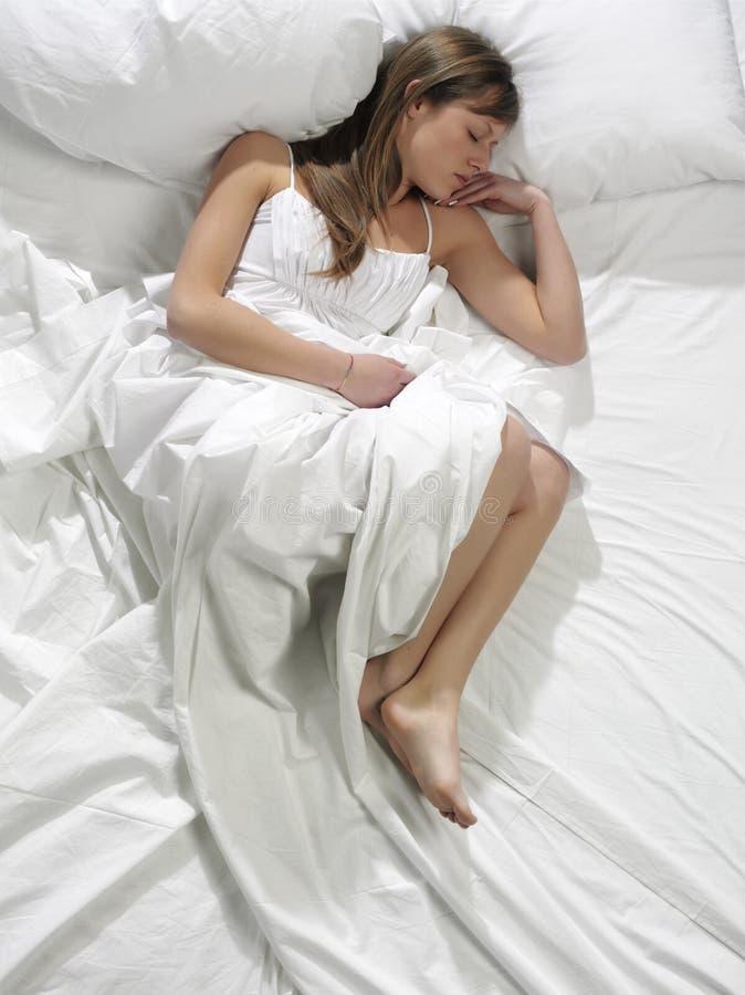 bed sleeping woman στοκ εικόνες
