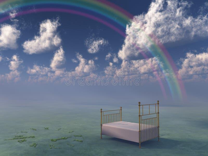 Bed in surreal peaceful landscape stock illustration