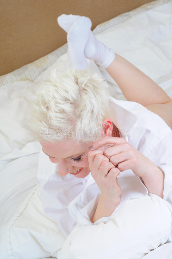 Download Bed time stock image. Image of portrait, blond, hair - 17304807