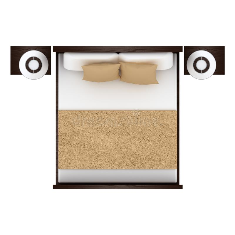 Bed top view stock illustration illustration of lamp for Cama vista superior