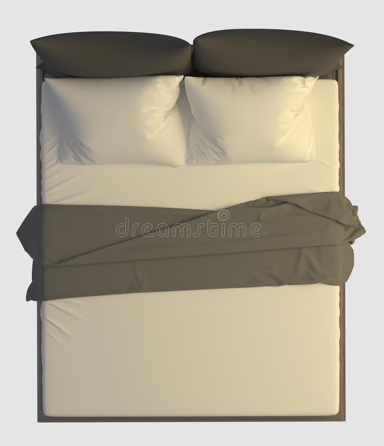 Bed Top View Isolated On White Stock Illustration