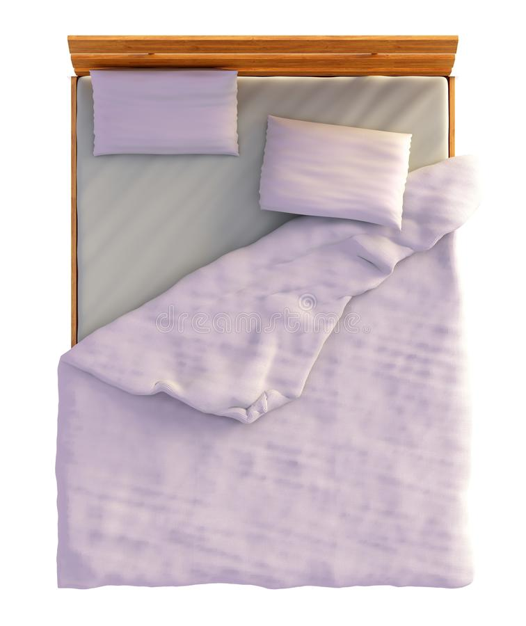 Bed Top View On White Stock Illustration. Illustration Of