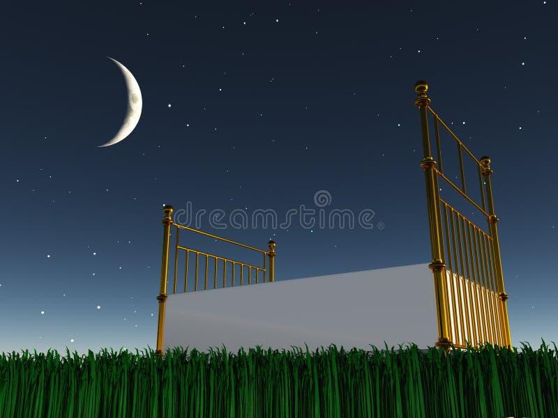 Download Bed under the stars stock illustration. Image of blue - 28576558