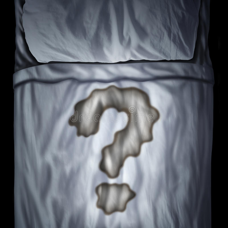 Bed Wetting. Problem or bedwetting questions as a fluid stain on a mattress shaped as a question mark as a medical bladder health trouble or psychological issue vector illustration