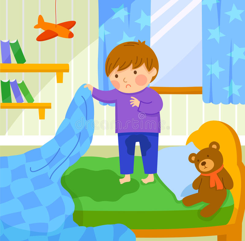 Bed wetting vector illustration