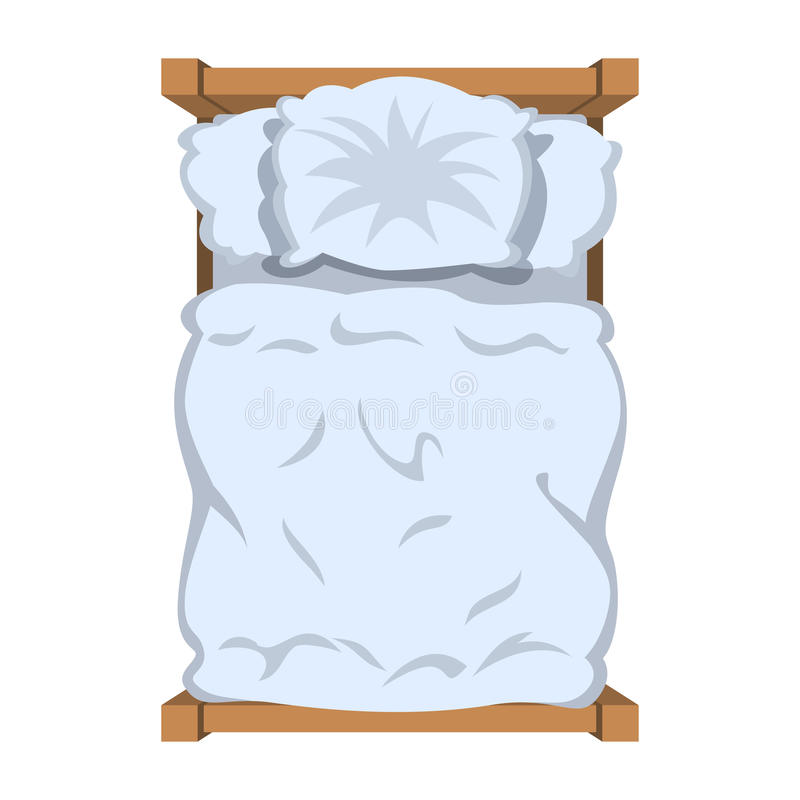 Bed with white linen, top view. White bedclothes. Blanket and pillow. Vector illustration stock illustration