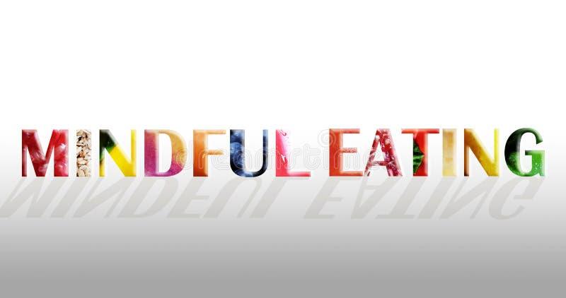 Bedachtzaam het Eten concept die vruchten en groente gebruiken stock fotografie