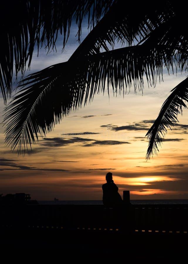 Bedachtzame Zonsondergang stock foto