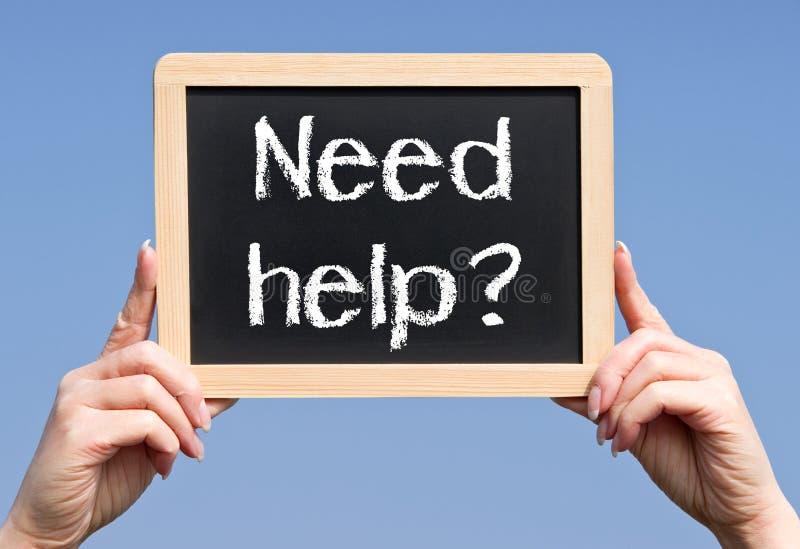 Bedarfshilfszeichen stockbild