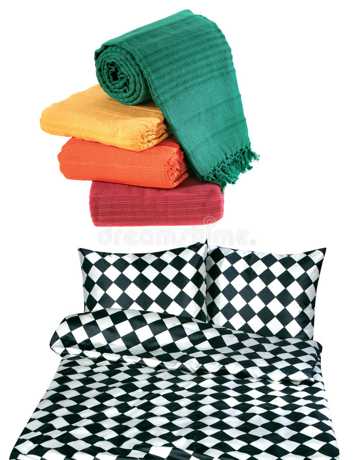 Bedclothes And Bedspread Isolated Royalty Free Stock Photos