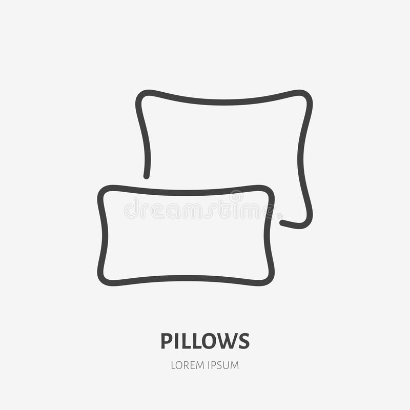 Bedding, bedroom decorations flat line icon. Vector illustration of pillows, cushion. Thin linear logo for interior royalty free illustration
