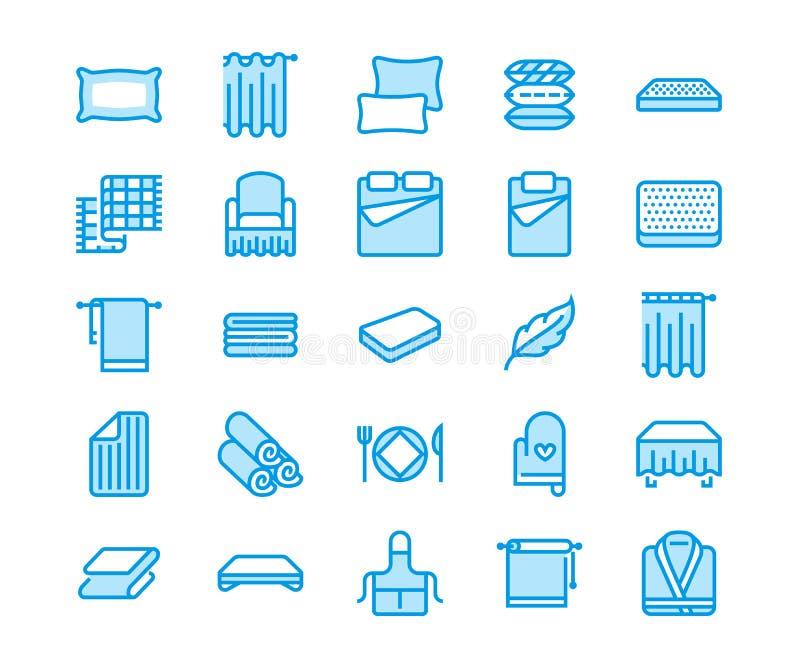 Bedding flat line icons. Orthopedics mattresses, bedroom linen, pillows, sheets set, blanket and duvet illustrations vector illustration
