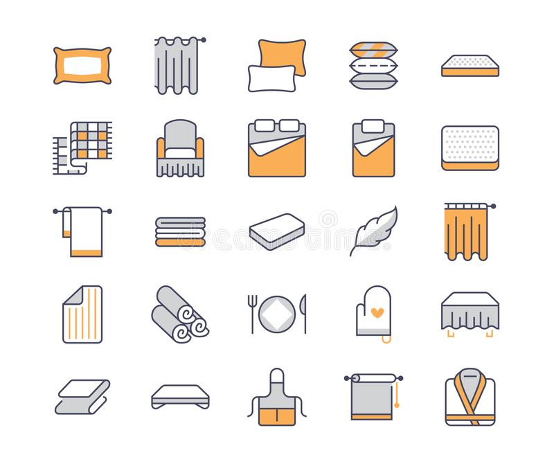 Bedding flat line icons. Orthopedics mattresses, bedroom linen, pillows, sheets set, blanket and duvet illustrations stock illustration