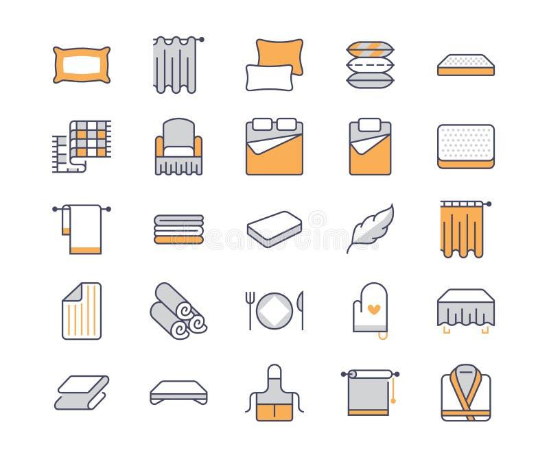 Bedding flat line icons. Orthopedics mattresses, bedroom linen, pillows, sheets set, blanket and duvet illustrations stock illustration