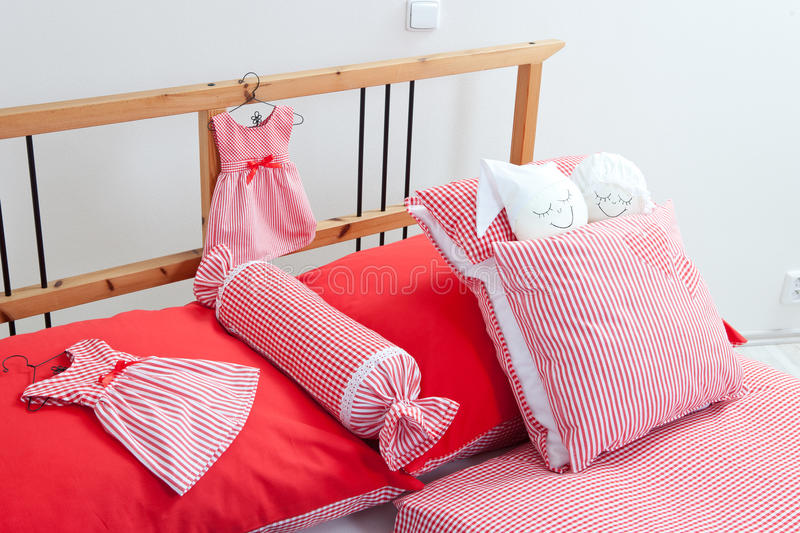 Bedding in red and white stock images