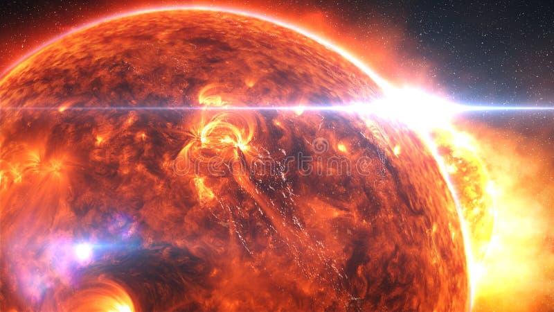 Bedecken Sie Burning oder das Explodieren nach einem globalen Unfall, apokalyptisches Szenario mit Erde lizenzfreie abbildung
