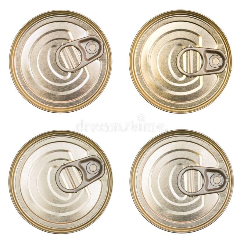 Bedecken Sie die Blechdosen Draufsicht eines Dosenlebensmittels lokalisiert Der Deckel einer Blechdose stockbild