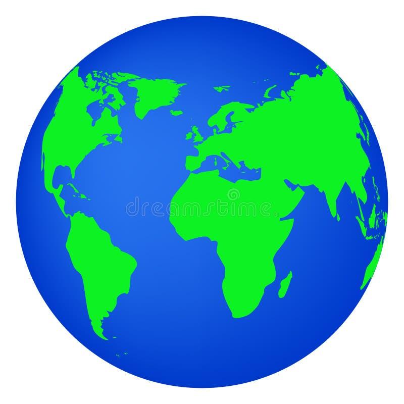 Bedecken Sie die flache Planetenikone der Kugel mit Erde, die auf Weiß lokalisiert wird vektor abbildung