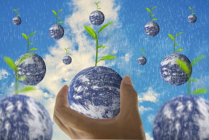 Bedecken Sie, in einer Handvoll mit Erde, wenn die Bäume auf die Oberseite wachsen, mit hellem Himmel als der Hintergrund und der stockfotografie