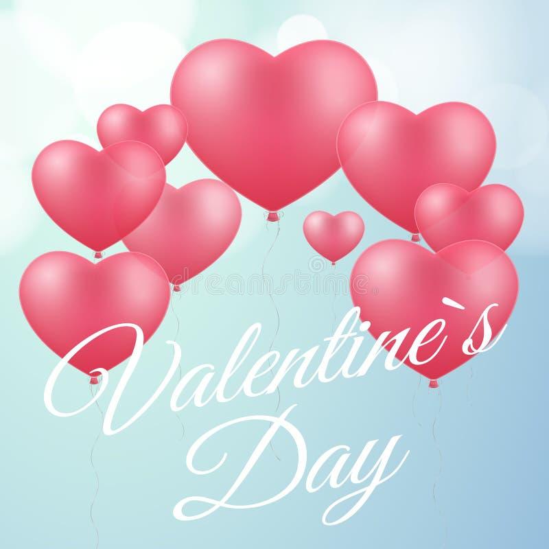 Bedecken Sie für Valentinsgrußtag Rosa Ballone des Herzens Romantische Karte Liebeszusammensetzung Weißer kalligraphischer Text V stock abbildung