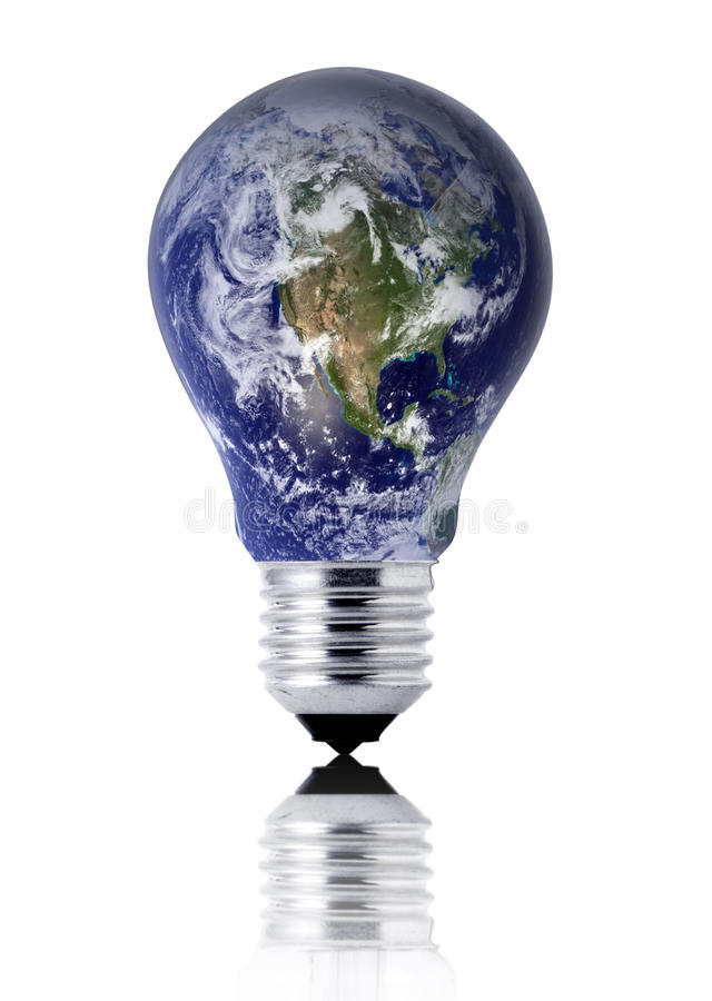 Bedecken Sie Glühlampe mit Erde lizenzfreie stockbilder