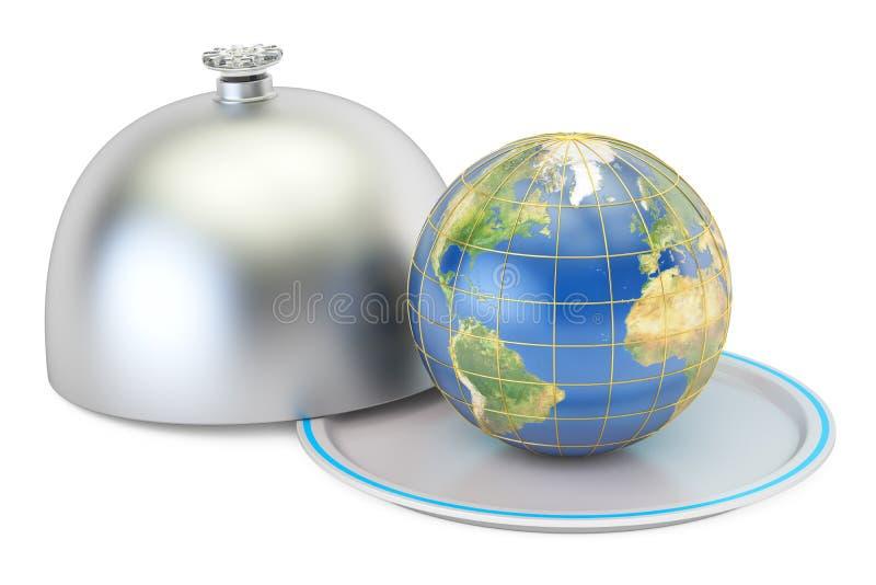 Bedecken Sie Kugel auf einer Servierplatte mit offenem Deckel, Wiedergabe 3D mit Erde lizenzfreie abbildung