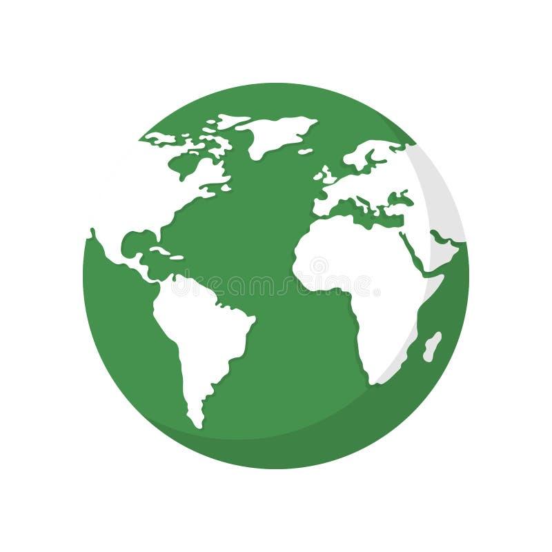 BEDECKEN SIE KUGEL MIT ERDE Nette Karte der Welt der Blumen und der feierlichen Fahne mit Basisrecheneinheit und Marienk?fer ?kol stock abbildung