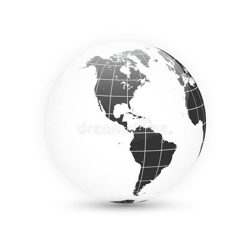 BEDECKEN SIE KUGEL MIT ERDE Weltkartesatz Planet mit Kontinenten Auch im corel abgehobenen Betrag stock abbildung