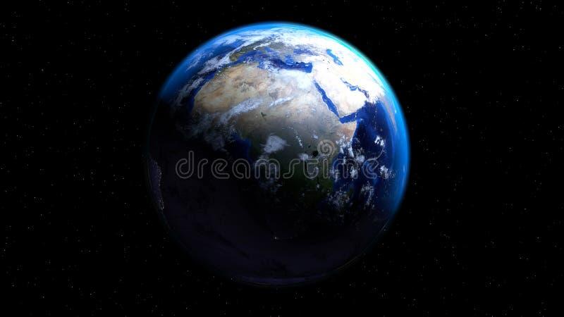 Bedecken Sie Kugel vom Raum mit den Wolken mit Erde und Afrika, Europa und M zeigen lizenzfreie stockfotos