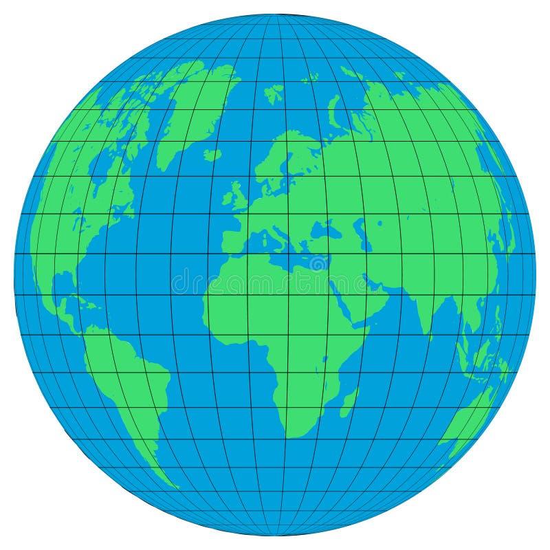 Bedecken Sie Kugeln mit den Breiten und den Meridianen auf weißem Hintergrund mit Erde Flache Planet Erdikone stock abbildung