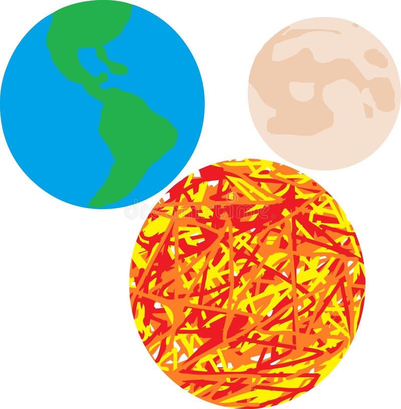Bedecken Sie Sonne und Mond, Universum, Hintergrund mit Erde lizenzfreie stockbilder